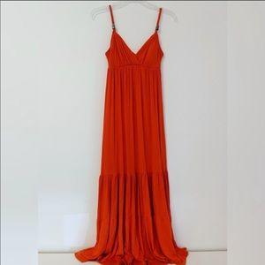 Bisou Bisou Blood Orange Jersey Maxi Dress 4